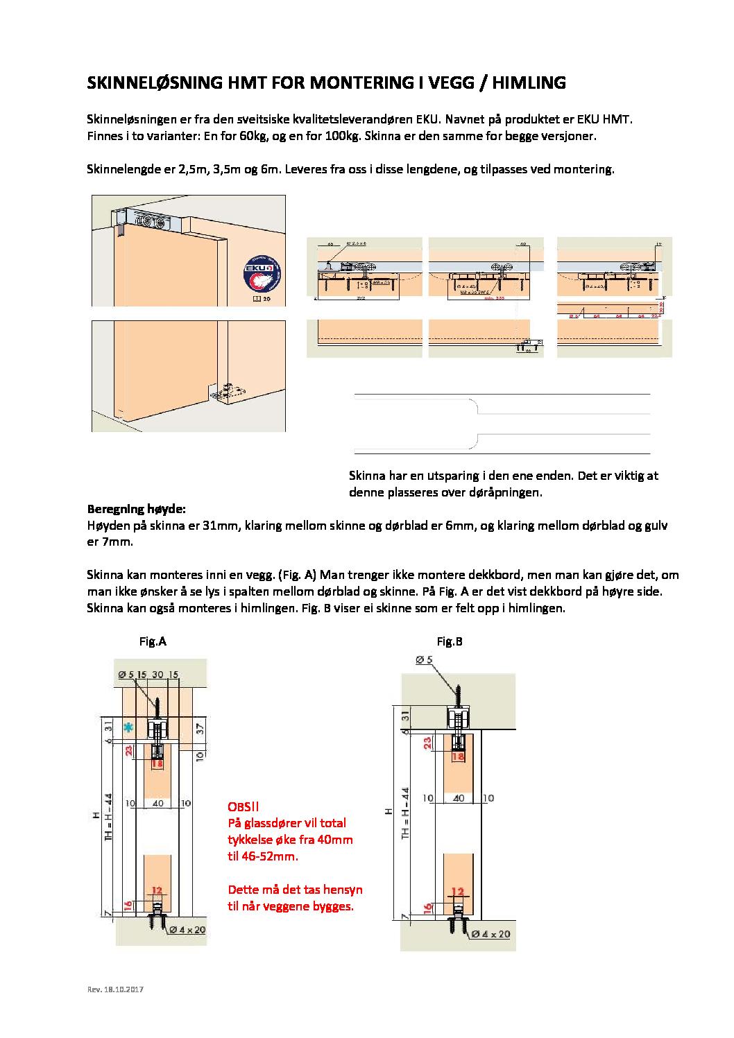 EKU HMT for montering i vegg eller i himling pdf - Skyvedør uten lister