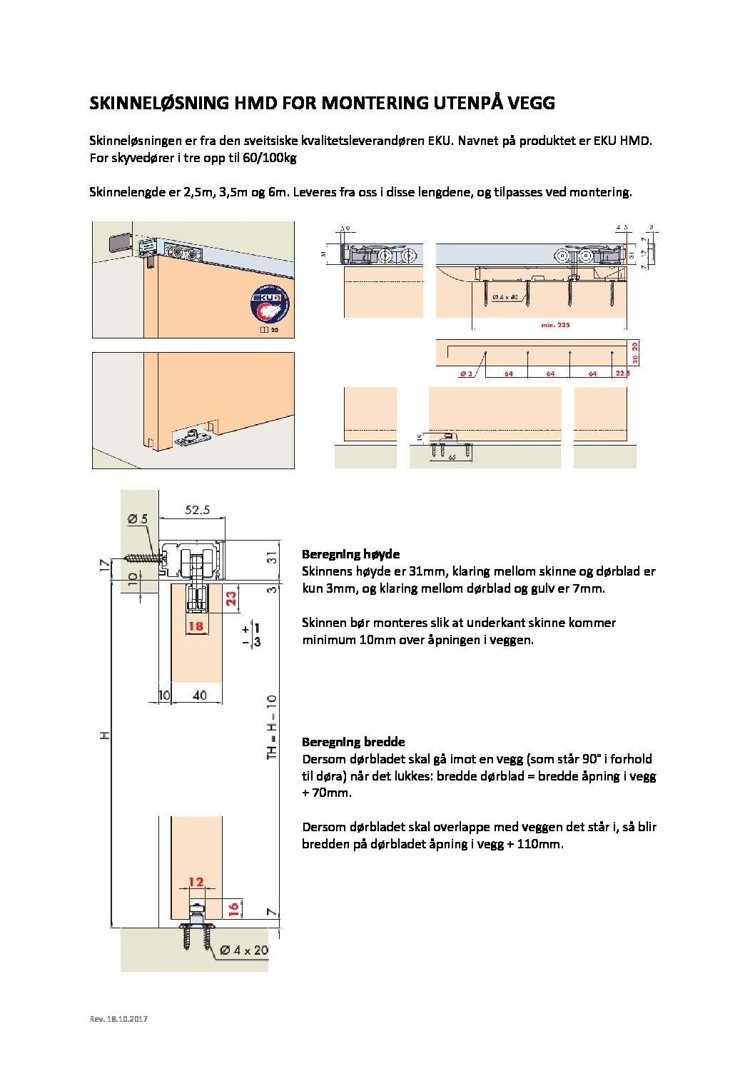 EKU HMD for utenpaliggende montering pdf - Utenpåliggende skyvedør